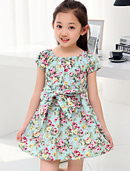 Girl's Sweet Floral Print Puff Sleeve Dress