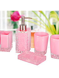 The Pink Ice-flowers Pattern Bathroom Ware 5 Sets