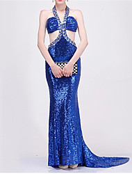 Formal Evening Dress - Royal Blue Plus Sizes / Petite Trumpet/Mermaid Halter Court Train Sequined
