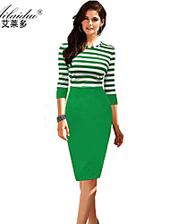 women's round neck five Quarter Sleeve striped sllim pencil skirt (Polyester)