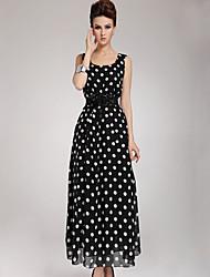ICED™ Women's Chiffon Polka Dots Print Sleeveless Dress