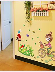 настенные наклейки наклейки для стен, езда на велосипеде девушка пвх наклейки
