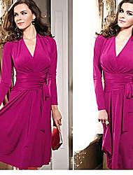Robes ( Coton ) Sexy Col V à Manches longues pour Femme