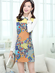 Women's Casual/Print/Party/Work Long Sleeve Dresses (Polyester)