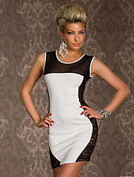 Vestidos ( Branco , Algodão/Poliéster , Salão de Baile/Roupas de Balada ) - de Salão de Baile/Roupas de Balada - Mulheres