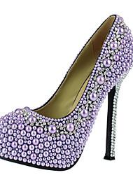 Women's Shoes Platform Round Toe Pumps Wedding Purple