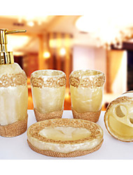 A Pearl  Pattern Bathroom Ware 5 Sets/Yellow