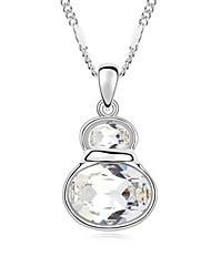 Little Magic Gourd Short Necklace Plated with 18K True Platinum Crystal Clear Crystallized Austrian Crystal Stones
