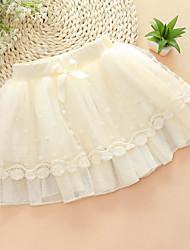 Girl's Sweet Mesh Splice Lace Nail Bead Pearl Princess Skirts