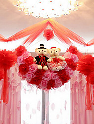 "22"" Modern Style Red Pink Simulation Flower Ball with Toy Bear Silk Cloth Decorative Flower Ball"