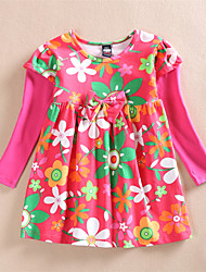 Girl's Fashion Floral  Spring And Autumn Kids Clothing Long-Sleeve Princess Dresses (100% cotton)