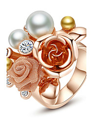 T&C Women's Imitation Pearl Flower Ring 18K Rose Gold Plated Use Austria Crystal Shinning Pearl Flower Jewelry