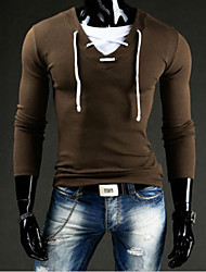White Men's Casual V-Neck Long Sleeve T-Shirts