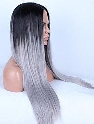 Hot Models High-quality Synthetic Hair Black and White Gradient Siou US Fashion Long Straight Hair Wig