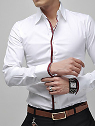 Men's Fashion Business Sritpe Decorative Slim Long Sleeved Shirt