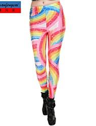 cmfc®women s rainbow utskrifts leggings Bodycon skinny all-match byxor koreanska stil mode byxor