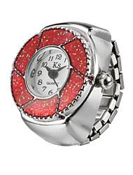Unique Flower Fashion Lady Girl Steel Round Elastic Quartz Finger Ring watch women