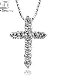 Poetry Dreams Solid Sterling Silver 11-stone Cross Pendant with 18'' Sterling Silver Necklace