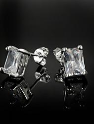 Boucle d'oreille de solitaire Boucle Argent/Zircon Femme