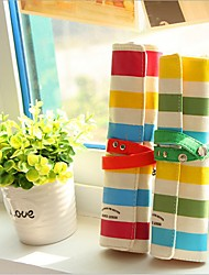 Colorful Stripe Linen Three Wood Pencil Bag (Random Color)