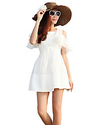 Women's Off Shoulder Mini Dress , Chiffon/Cotton White Sexy/Beach