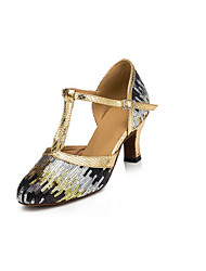 Non Customizable Women's Dance Shoes Latin Flocking Low Heel