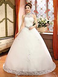 Ball Gown Sweep/Brush Train Wedding Dress -High Neck Satin