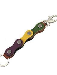 unisexe correspondance des couleurs mode punk codes à barres cru cuir véritable porte-clés