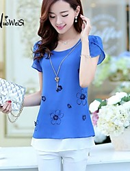 Women's Casual/Print/Cute/Party Micro-elastic Short Sleeve Regular Blouse (Chiffon)