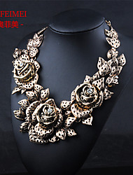Alloy paint flower necklace