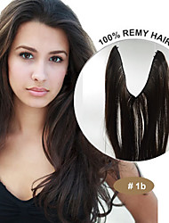 20inch 100% Brazilian Virgin Human Hair Flip in Hair Extensions #1B Natural Black Natural Wave Halo Hair Extensions 002