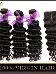 4Pcs Lot Indian Deep Wave Curly Virgin Hair With Closure 3 Bundles Unprocessed Remy Human Hair Weaves With Lace Closures