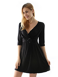 Women's Party / Work Dress Above Knee Cotton / Polyester / Knitwear / Elastic
