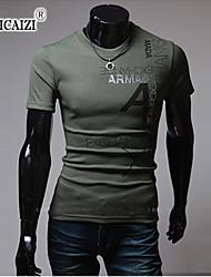 Katoenmix/Polyester - Effen - Heren - T-shirt - Informeel/Sport - Korte mouw