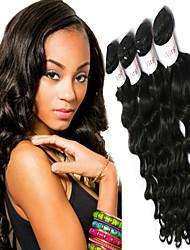 """3 / Los 8 """"-34"""" indian unverarbeitete reine Haar natürliche schwarze Farbe natürlichen Gewebe Haarverlängerung."""