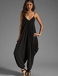 Women's Sexy Micro-elastic Translucent Sleeveless Jumpsuits (Cotton Blends)