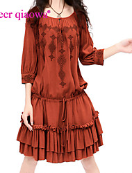 Women's Round Collar Cinch Waist Loose Dress