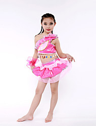 Latin Dance Performance Outfits Children's Performance Polyester Outfit Red/White/Fuchsia Kids Dance Costumes