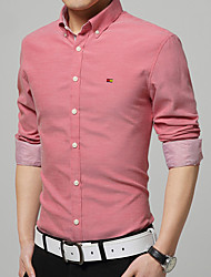 Men's Pure Color Leisure Big Yards Long Sleeve Shirts