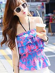Women's Sexy/Beach/Cute Printing Strapless Short Shirts