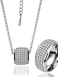 Arinna Fashion Jewelry Set Women 18k white Gold Plated & clear crystal Necklace Ring Gift Set G1351#8