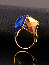 U7® Women's High Quality Austrian Fancy Stone Ring 18K Gold Plated 3 Colors Blue Green Champagne Shiny Statement Ring