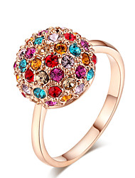 T&C Women's Top Quality Colourful Crystal Ball Ring 18K Rose Gold Plated Austria Crystals Jewelry