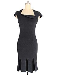 YIZOO Women's Vintage Micro-elastic Short Sleeve Knee-length Dress (Roman Knit)