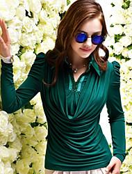 Women's V Neck Solid Color beads Elegant Basic