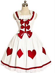 Sleeveless Knee-Length White and Red Cotton Sweet Lolita Dress