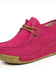 Calçados Femininos Couro Anabela Bico Fechado Sapatos para Esportes Casual Preto/Amarelo/Vermelho