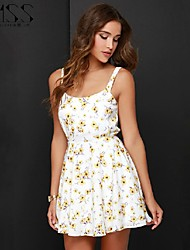 Women's Floral Multi-color Dress , Sexy/Beach/Casual/Print Sleeveless