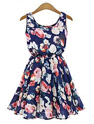 Women's Summer Chiffon Floral Print Sleeveless Vest Dress
