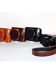 dengpin pu óleo da pele de couro tampa da câmera destacável saco caso para Leica d-lux Typ 109 (cores sortidas)